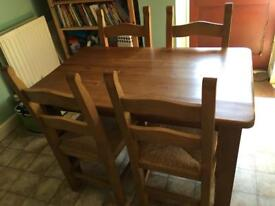 Solid wooden table + 4 chairs