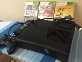 like new xbox 360 console and games with remote control and all leads and power pack