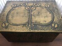 "Arts & Crafts Glasgow School Art Nouveau Brass Coal Box 21"" x 14"" x 12"""