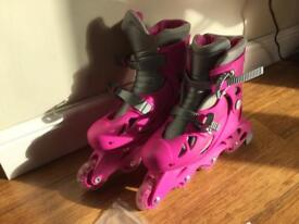 ARGOS Pink/Grey Girls In-line skates adjustable to fit sizes 13-3