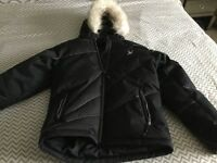 Size 14 SPYDER ski jacket, fur removable, hood fits helmet