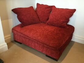 High Quality Roche Bobois Red Ottoman with Cushions