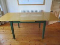 JOHN LEWIS WOOD EXTENDING dining table BEECH VENEER & Drop Leaf SOLID PINE GREEN LEGS 197 x 90x 78cm