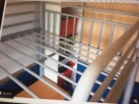 Single high sleeper/loft bed with two shelves & two desk areas
