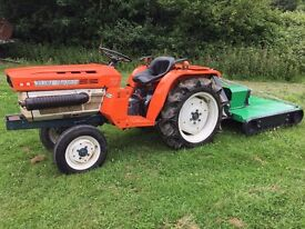 Kubota B1600 2WD Compact Tractor with New 1.1 meter Topper Mower, 487 Hours, 20 HP