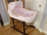 BABY MOSES BASKET,CRIB,COT WITH ROCKING STAND.ONLY USED A COUPLE OF TIMES