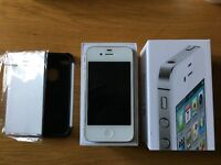 Iphone 4s white 16gb with box and case and screen protector!