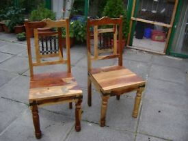 NEW NEWbeautiful set of 2 hard wood indian chairs new