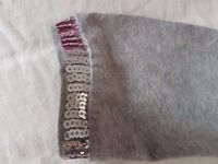 Sparkly Grey/silver sequin trimmed leggings (TU) size 9-10