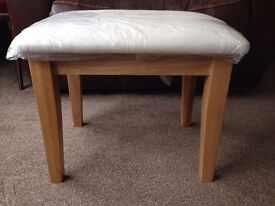 New Dressing Table Stool solid natural oak wood, still wrapped, white suede effect fabric.