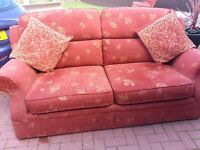 Three seater settee in Terracotta Fabric