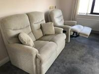Two seater sofa with reclining arm chair