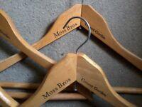 Four Moss Bros Covent garden wooden coat hangers