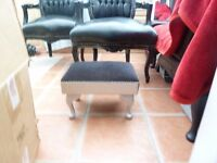foot stool - shabby chic style. Black chenille with diamante trim. silver base