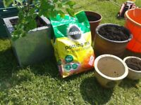 """CERAMIC AND METAL (10"""" TALL) PLANT POTS,COMPOST TUBS GARDEN ALLOTMENT JOBLOT,FREE DELIVERY 2 OXFORD"""