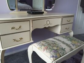 French Louis dressing table, stool and side tables