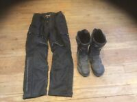 Motorcycle boots and trousers