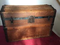 Large wooden and metal treasure chest.