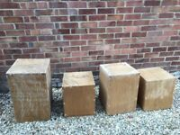 4 wooden plinths - for display purposes