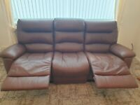 Brown Leather Recliner 3 seat sofa and armchair