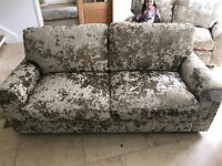 Designer crushed velvet 3 seater sofa in mink gold
