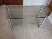 Three tier toughened glass TV / Hi-Fi stand