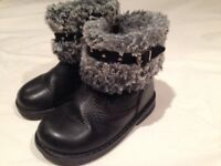 Girl's Black Leather Short Boots Fur Lined NEXT (Infant 5)