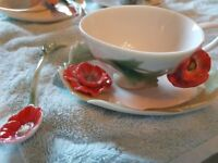 FRANZ POPPY - DEMI TASSE CUP, SAUCER AND SPOON FZ00886