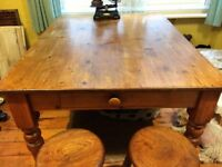 ANTIQUE VICTORIAN SOLID PINE KITCHEN TABLE, CUTLERY DRAWER, SPUN LEGS