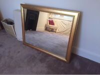 Large stylish mirror with wooden frame