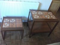 2 MATCHING TILED TOP OCCATIONAL TABLES ONE IUS A WHHELED TROLLY