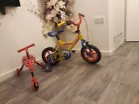 Toddler bike with stabalizers and bug trike
