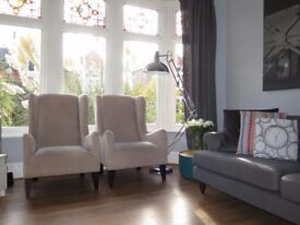 Pair Of DFS Capsule Collection Wingback Armchairs Chairs