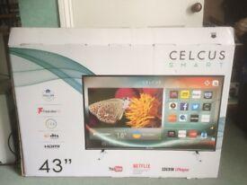 """CELCUS Smart TV 43"""" bought from Sainsburys + Remote + receipt - CEL43FHDSB-16/1"""