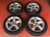 16'' GENUINE VW PASSAT TWIST ALLOY WHEELS AND TYRES 5X112 CADDY JETTA GOLF MK5 MK6 MK7