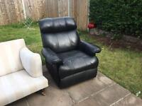 Black leather style reclining arm chair