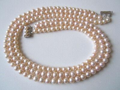 Schwere 3-Rhg Perlen Kette 835/Jka Silber Verschluß schöner Lüster 88,0 g/43cm