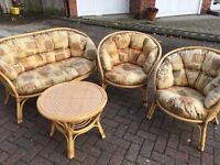 4 PIECE CANE FURNITURE SET