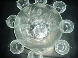 Duralex 18 piece glass punch bowl set