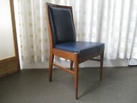 VINTAGE TEAK AND DARK BLUE LEATHER DESK CHAIR OFFICE CHAIR DINING CHAIR FREE DELIVERY