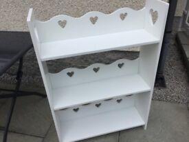 BOOKSHELF - solid white bookshelf suitable for Baby/ Childs bedroom.