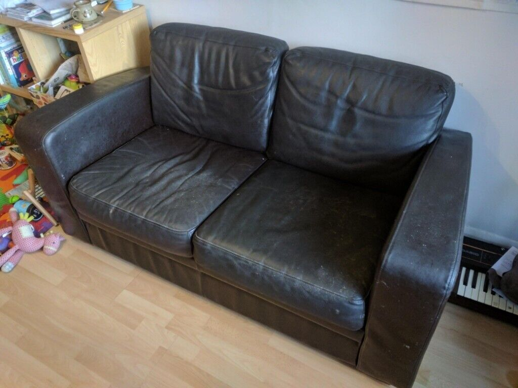 Pleasant 2 Person Sofa Brown Leather In Reading Berkshire Gumtree Ncnpc Chair Design For Home Ncnpcorg