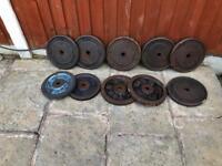 12x 10kg Cast Iron Weights Plates.