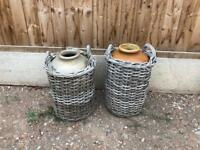 Vintage clay and wicker pots