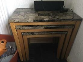 Nest of marble effect tables in good condition