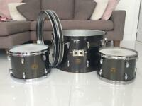 Vintage 'Stop Sign' Gretsch drums from the 70's in a very rare Black Chrome