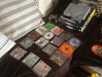 PlayStation 1 with box and games