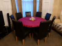 DINING TABLE WITH 8 CHAIRS BEAUTIFUL ROSE WOOD HAND MADE & CARVED ROUND