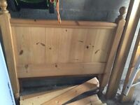 Single bed. Solid antique pine with mattress