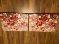 Beautiful matching floral printed canvases